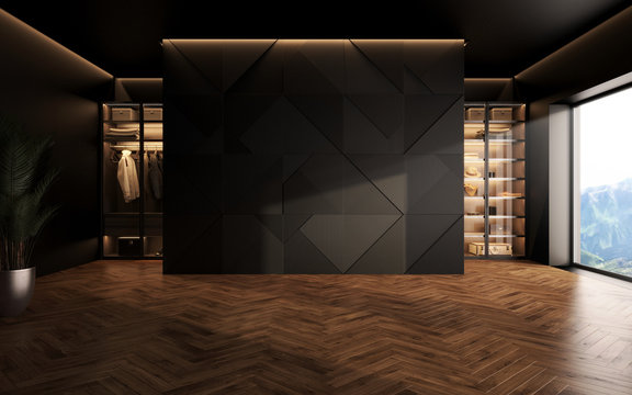 luxury studio apartment with a free layout in a loft style in dark colors. Stylish modern room area with wardrobe and wooden floor parquet. 3d render