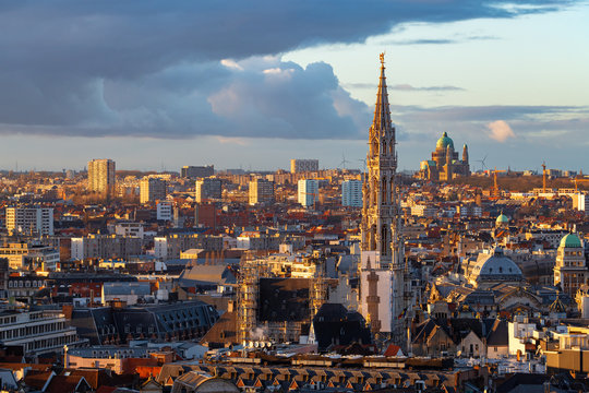 Cityscape of Brussels by Sunset with the Tower of the Town Hall in the Foreground