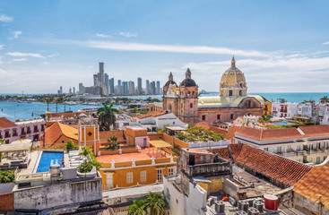 View of the St. Peter Claver church and the old town in Cartagena, Colombia