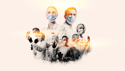 team of doctors men and women fighting diseases and viruses