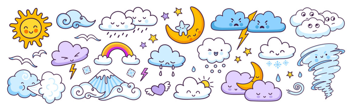 Set of cute weather forecast characters with funny faces. Clouds, sun, rainbow, tornado, rain and wind. Vector illustrations.