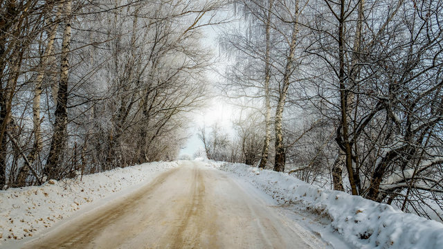 dirty street on theIce Forest in Russia