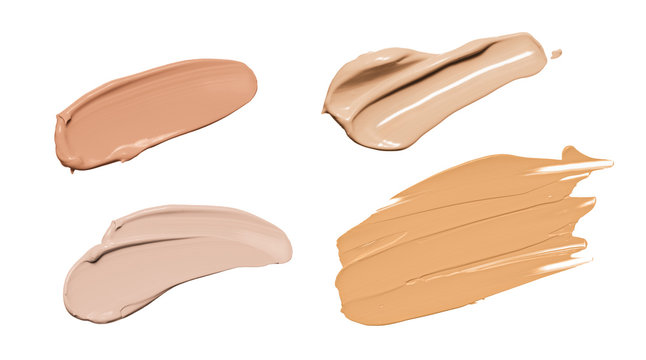 Makeup liquid foundation, beige concealer smears set. Light brown cosmetic make up base cream swatch smudge isolated on white background. BB CC cream texture