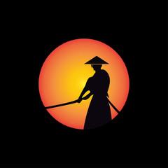 samurai warrior japan logo template. icon samurai sword.