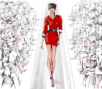 Hand drawn fashion show with stylish model and audience. Fashion runway. Haute couture. Beautiful young woman walking runway. Looped animation.