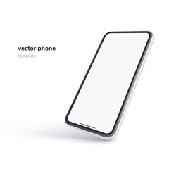 Vector phone isolated on white background. Realistic template. Mock up with empty screen for business presentations.