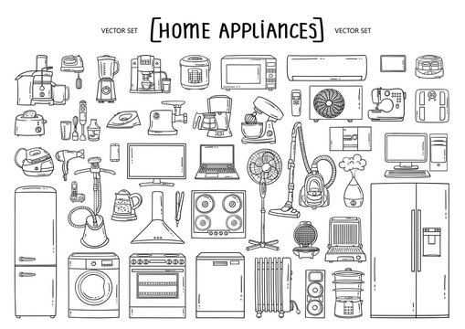 Vector hand drawn set on the theme of home appliances. Isolated doodles of technics on white background. Line art