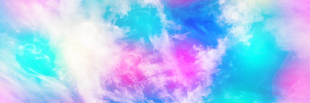 Cloud and sky with a pastel colored background, abstract sky background in sweet color, panoramic mock-up image