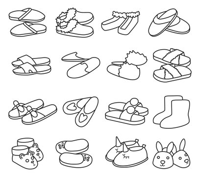 House slipper outline vector set icon. Isolated outline icon slipper and shoes.Vector illustration summer and spa shoe.