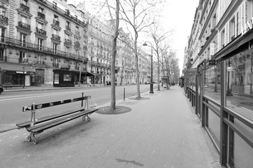 Streets of Paris (France) being empty during the coronavirus (COVID-19) lockdown.