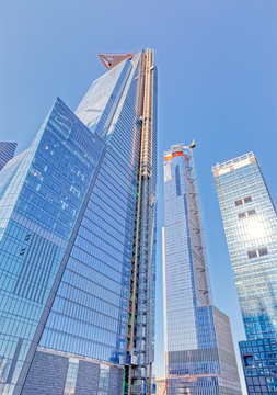 NEW YORK, USA - OCTOBER 01, 2018: 30 Hudson Yards a super-tall mixed use building in the West Side area of Manhattan. CNN Cable News Network building.
