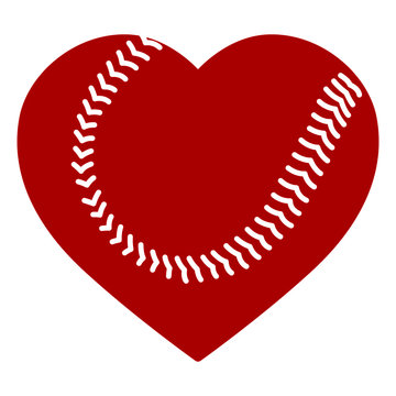 Heart shape baseball ball vector illustration isolated on white background