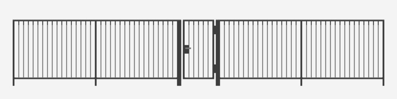 modern vertical bar metal fence