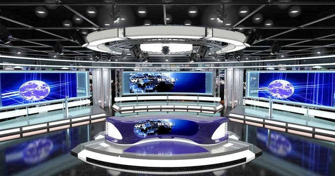 Virtual TV Studio News Set 1-1. 3d Rendering. This background was created in high resolution with 3ds Max-Vray software. You can use it in your virtual studios.