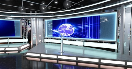 Virtual TV Studio News Set 1-9. 3d Rendering. This background was created in high resolution with 3ds Max-Vray software. You can use it in your virtual studios.