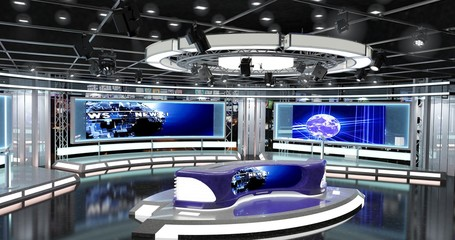 Virtual TV Studio News Set 1-4. 3d Rendering.This background was created in high resolution with 3ds Max-Vray software. You can use it in your virtual studios.
