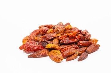 Piri piri. Dried red bird's eye chili pepper isolated on white background