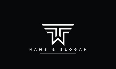 Fototapeta TW ,WT ,T ,W Letter Logo Design with Creative Modern Trendy Typography obraz