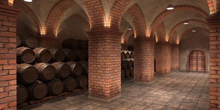 Background of wine barrels in wine-vaults. Interior of wine vault with wooden barrels. 3D rendering - 3D Illustration. Mixed media.