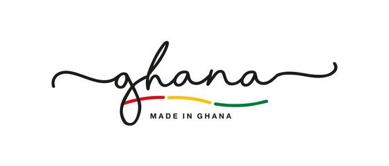 Made in Ghana handwritten calligraphic lettering logo sticker flag ribbon banner