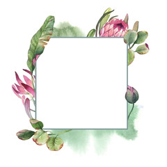 watercolor square frame wreath of pink protea with green leaves on white background