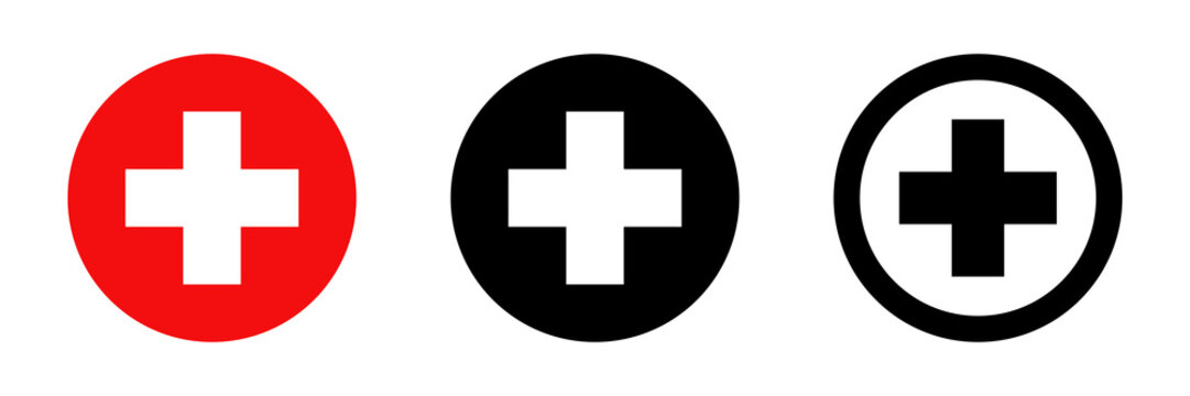 Red cross. Vector isolated icons. Medicine health hospital collection of signs symbol. Vector abstract graphic design. Emergency medicine concept. First aid. Health care.