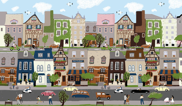 City landscape! Vector cute illustration of houses, trees, people and family on town street. People walking, ride bicycle. European architecture and traffic. Drawings for poster, card and cover