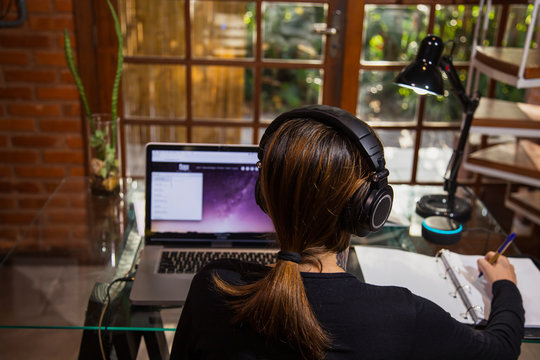 Young woman working in home office in a Laptop.  View of a garden through a large window.