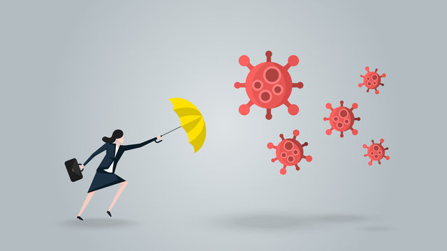 Businesswoman With Yellow Umbrella  Defense Coronavirus 2019 or Covid-19. Meaning is Protect Her Business, Company, Financial to Survive and Move on in the Virus Outbreak Crisis. Vector Ilustration.