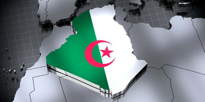 Algeria - borders and flag - 3D illustration