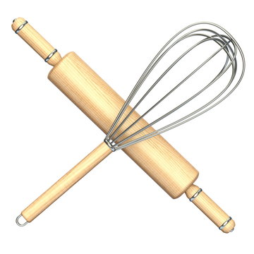 Wooden rolling pin and metal wire steel whisk 3D