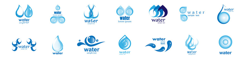 Water Splash Vector And Drop Set - Isolated On White. Vector Collection Of Flat Water Splash and Drop Logo. Icons For Droplet, Water Wave, Rain, Raindrop, Company Logo And Bubble Design