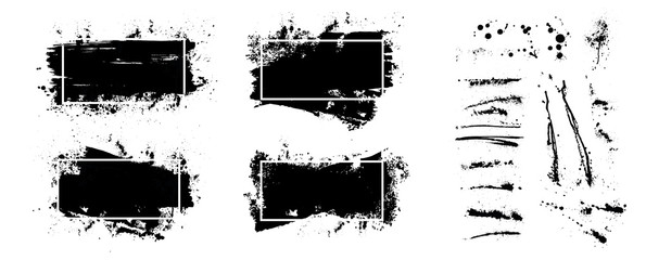 Fotobehang - Text boxes grunge with frame, isolated on white background. Black splashes, Dirty artistic design elements, boxes, frames for text. Collection black paint, ink brush strokes, brushes, lines. Vector