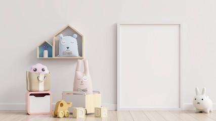 Mock up poster frame in children room,kids room,nursery mockup.