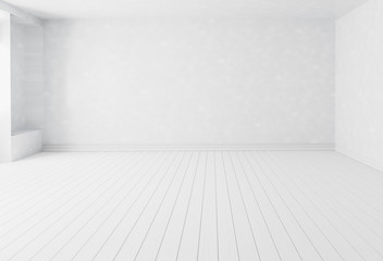 Blank white interior room background ,empty white walls corner and white wood floor contemporary for copy space display product of present content advertising banner product design ,3D illustration Fotomurales