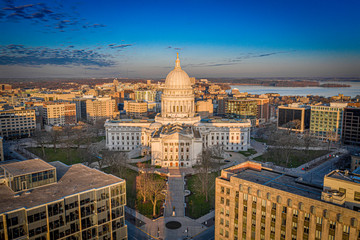 Poster Sunset Madison Wisconsin Isthmus and Capitol at sunrise