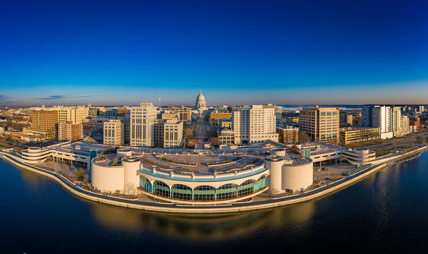 Madison Wisconsin Isthmus and Capitol at sunrise
