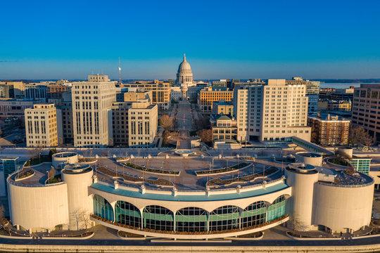 Madison Wisconsin Capitol at sunrise