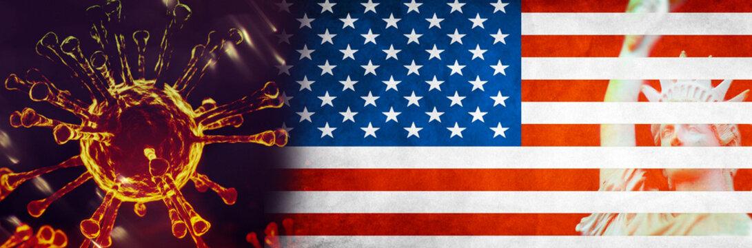 Image of Flu COVID-19 coronavirus and america flag and The Statue of Liberty destroy.Coronavirus Covid-19 outbreak influenza background.Pandemic medical health risk concept.Coronavirus control in USA.