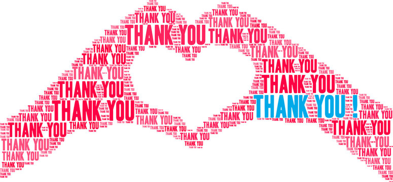Thank You animated word cloud on a white background. .
