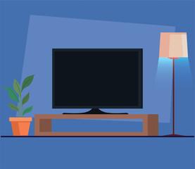 tv flat screen in wooden drawer vector illustration design
