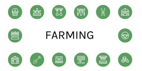 farming simple icons set Fotomurales