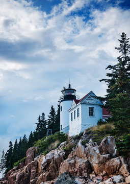 Bass Harbor Head Light, a lighthouse in Mount Desert Island built in 1855, Acadia National Park, Maine, United States, North America