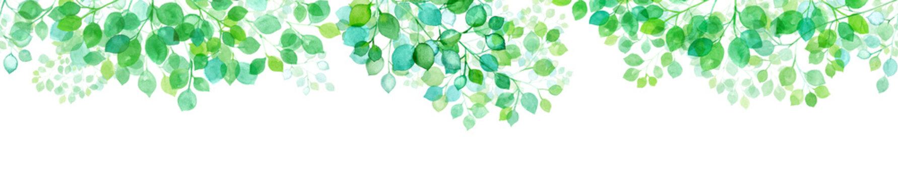 木漏れ日の新緑水彩イラスト、シームレスパターン