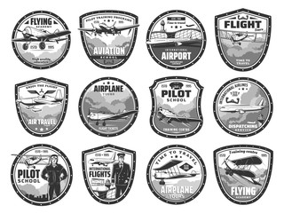 Aviation, air travel, international airport and pilot school vector icons. Aviation academy, airplane flight tours, air travel tickets, passenger service and airlines dispatching service company Wall mural