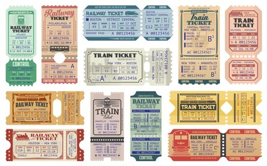 Railway tickets, vector train travel passes, vintage cardboard and carton paper tickets. USA American railway train tickets to central station destination city, seat number and control stamps Fototapete