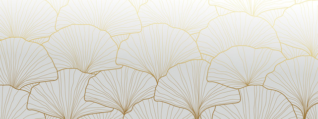 Luxury Gold Ginkgo wallpaper design vector. Fototapete