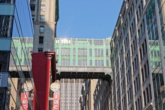 NEW YORK, USA - OCTOBER 01, 2018: Gimbels 32nd street 3 stories tall bridge