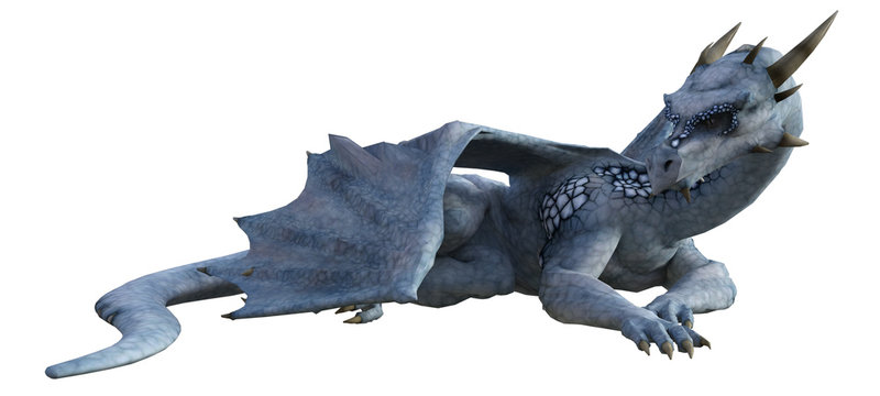 Light Blue Frosted Dragon isolated on white, 3d render.