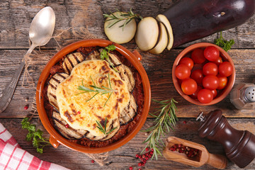 Wall Mural - moussaka- fried eggplant with tomato sauce, beef and cheese